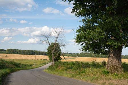 asphalt road on countriside landscape.