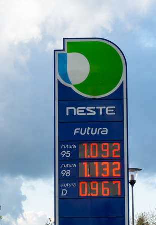 Latvia, 03 November 2020 The price of gasoline and diesel fuel at the gas station Neste in Euro. Editorial