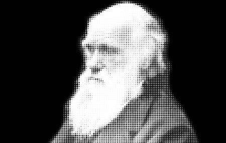 theories: Charles Darwin Portrait Artistic Editorial