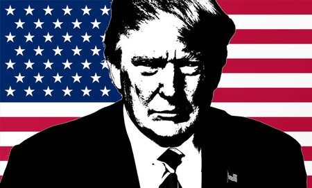 Trump Illustration in American Flag