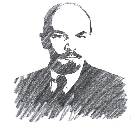 Pencil Illustration of Vladmir Lenin Stock Photo