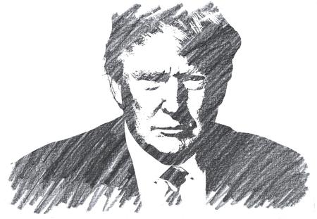 Pencil Illustration of Donald Trump Editoriali