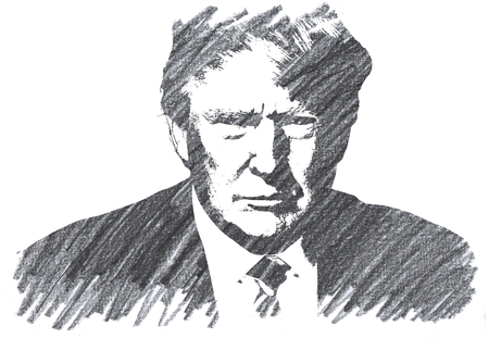Pencil Illustration of Donald Trump 新聞圖片
