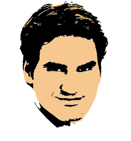 Drawing of Roger Federer Editorial