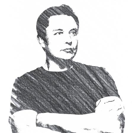 Pencil Illustration of Elon Musk