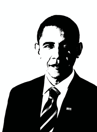 Editorial Drawing of Barack Obama in Black and White Editorial
