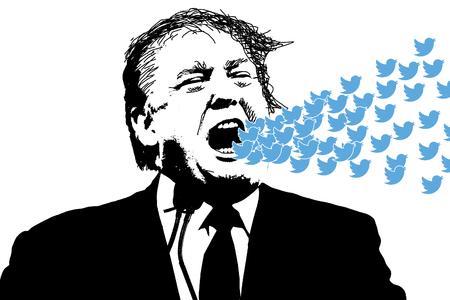 Ilustracja redakcyjna Donalda Trumpa krzyczącego na Twitterze w mediach społecznościowych
