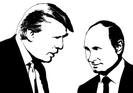 Editorial Illustration of Donald Trump and Vladimir Putin