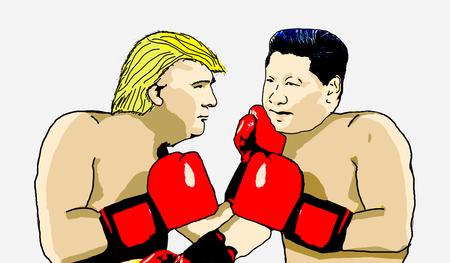 Editorial Illustration of Trump versus China - Xi Jimping Editorial