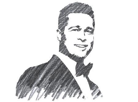 Pencil Illustration of Brad Pitt Editorial