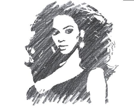 Pencil Illustration of Beyonce Knowles Editorial