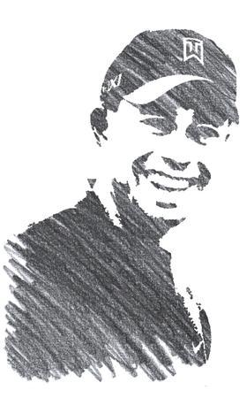 Pencil Illustration of Tiger Woods