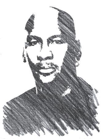 Illustration au crayon de Michael Jordan