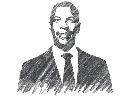 Pencil Illustration of Denzel Washington 에디토리얼