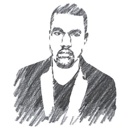 Pencil Illustration of Kanye West