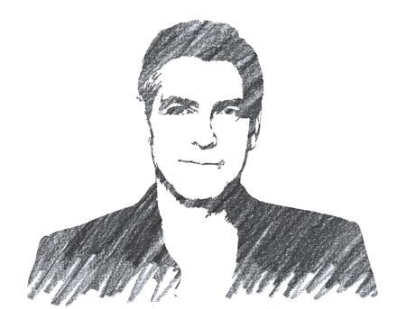 Pencil Illustration of George Clooney Editorial