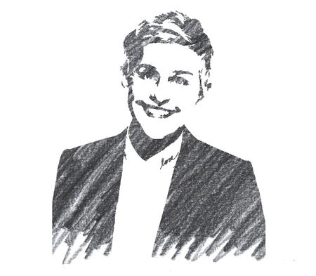 Pencil Illustration of Ellen Degeneres