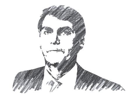 Pencil Illustration of Jair Bolsonaro President of Brazil