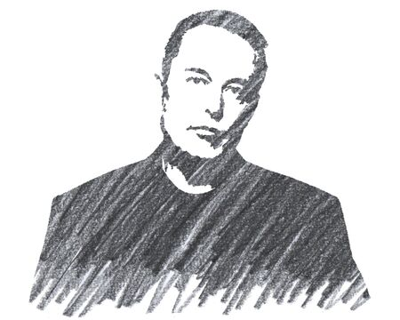 Elon Musk Editorial Pencil Drawing
