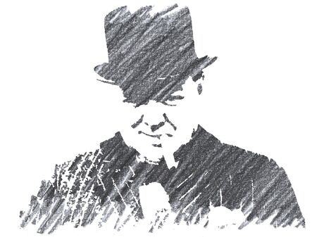 Editorial Pencil Drawing of Winston Curchill Sajtókép