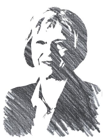 Editorial Pencil Drawing of Teresa May
