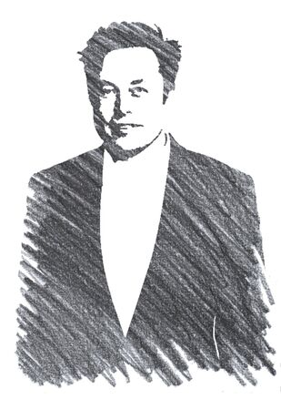 Editorial Pencil Drawing of Elon Musk