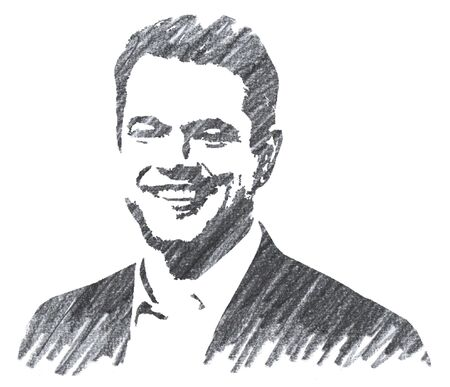 Editorial Pencil Drawing of Matt Damon Sajtókép