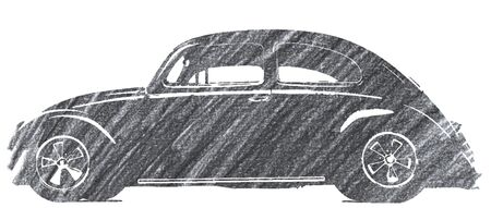 Editorial Pencil Drawing of Beetle Car