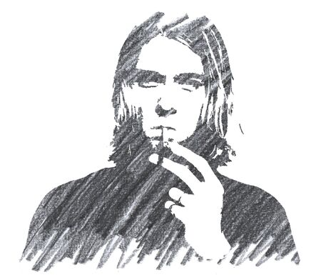 Editorial Pencil Drawing of Kurt Cobain