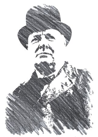 Editorial Pencil Drawing of Winston Churchill Sajtókép