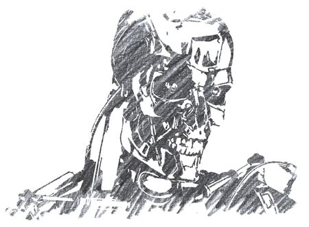 Editorial Pencil Drawing of Terminator