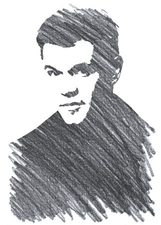 Editorial Pencil Drawing of  Matt Damon