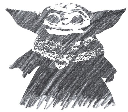 Editorial Pencil Drawing of Baby Yoda