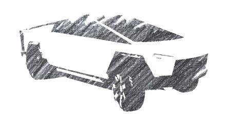 Editorial Pencil Drawing of Cybertruck Sajtókép
