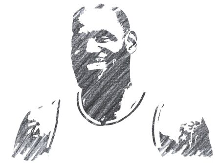 Editorial Pencil Drawing of Lebron James Sajtókép