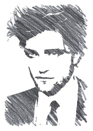 Editorial Pencil Drawing of Robert Pattinson Sajtókép