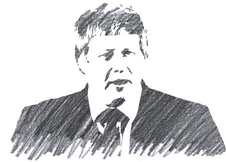 Editorial Pencil Drawing of Boris Johnson