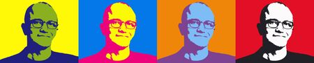 Editorial Illustration of Satya Nadella Pop Art