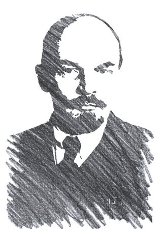 Editorial Pencil Drawing of Lenin