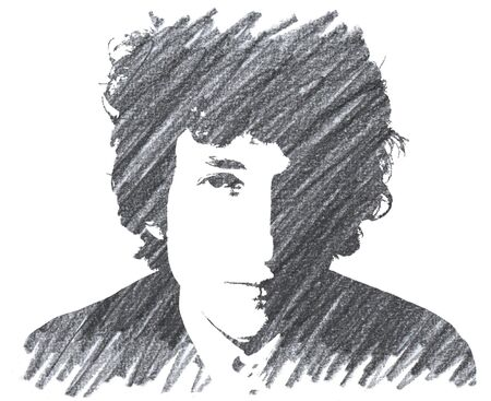 Editorial Pencil Drawing of Bob Dylan Sajtókép