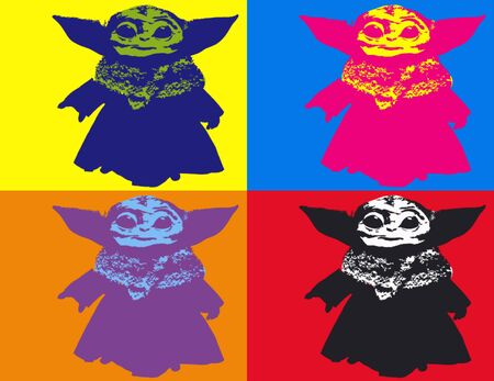Editorial Illustration of Baby Yoda Pop Art