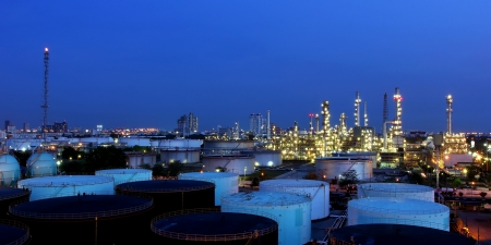 The Oil refinery at twilight in Bangkok, Thailand photo