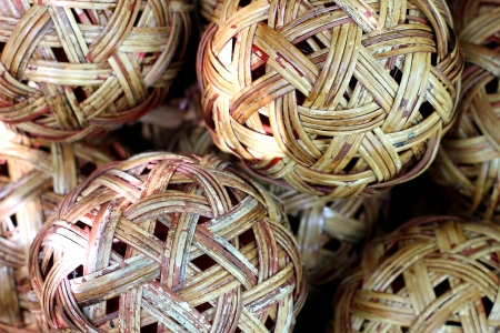 Rattan ball background or texture Stock Photo