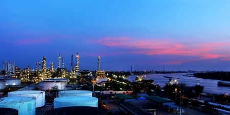Oil refinery at twilight time