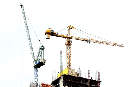 Werken kraan op bouwplaats