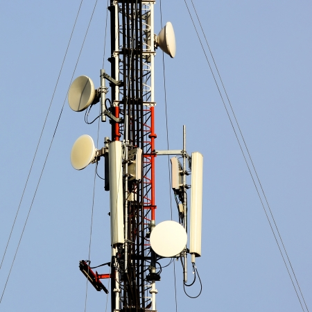 high frequency: Closeup of a telecommunication tower Stock Photo