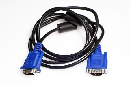 vga: Cable VGA aisladas sobre fondo blanco
