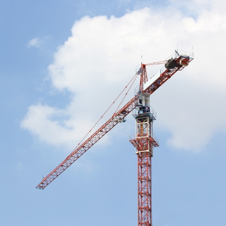 Tower crane against beautiful sky