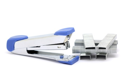 stapler and staples isolated on white background