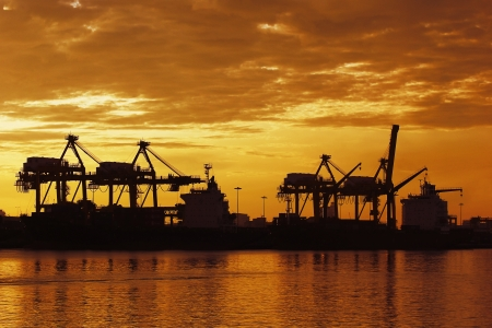 Silhouette of port warehouse with container cargo and crane bridge photo